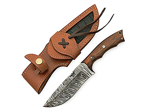 HOMETOWN KNIVES Damascus Knife for Hunting - Fixed...
