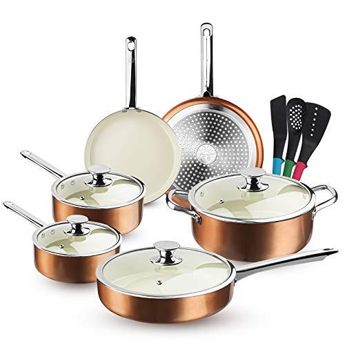 FRUITEAM 13-Piece Cookware Set Non-stick Ceramic...