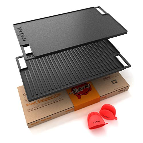 NutriChef Cast Iron Reversible Grill Plate - 18...
