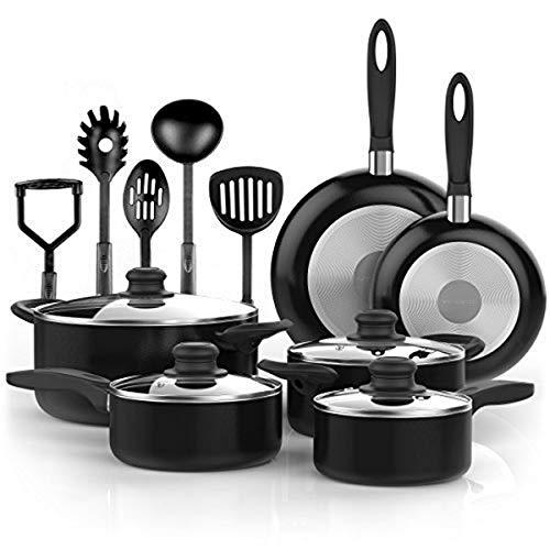 Vremi 15 Piece Nonstick Cookware Set - Durable...
