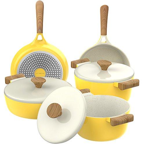Vremi 8 Piece Ceramic Nonstick Cookware Set...
